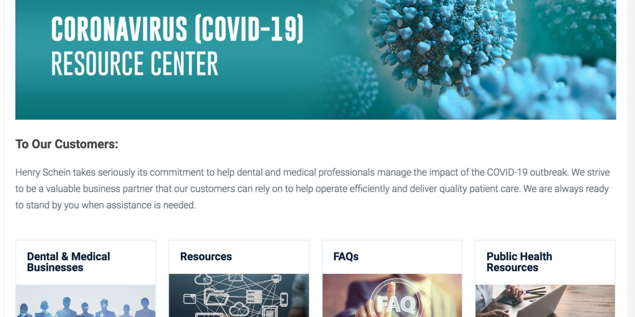 Henry Schein's COVID-19 Resource Center Goes Online